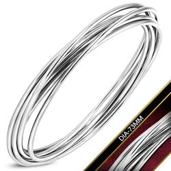 Armband med 6 st stål ringar
