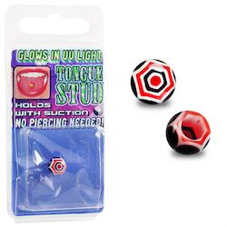 Svart/röd spindelnät fake piercing till tunga