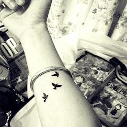 Stick on tatuering med fåglar