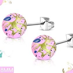 Rosa örhängen med färgklickar