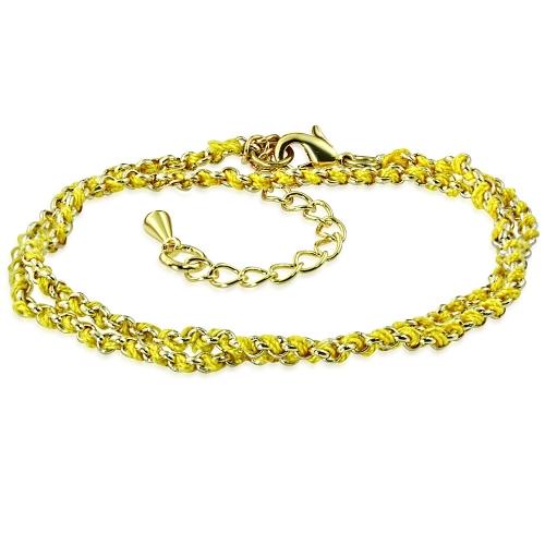 Länk armband med inflätat rep