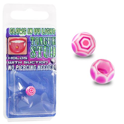 Rosa spindelnät fake piercing till tunga
