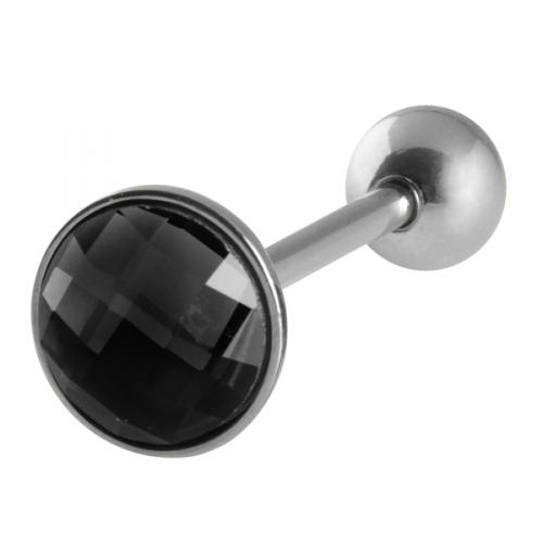 Tungpiercing med svart CZ