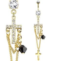 Navelpiercing med kors och pärla