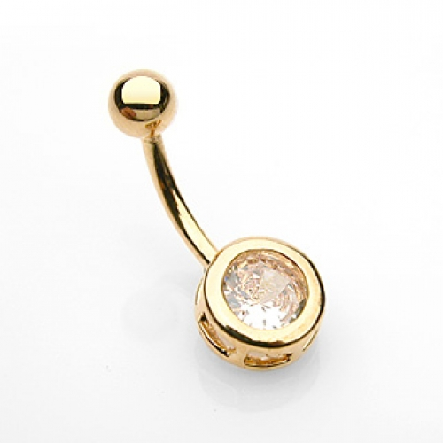 Navel piercing med CZ sten