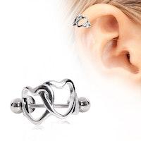 Helix piercing med två hjärtan
