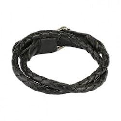 Flätat svart läder armband