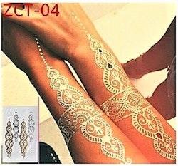 Stick on tatueringar med guld/Silver