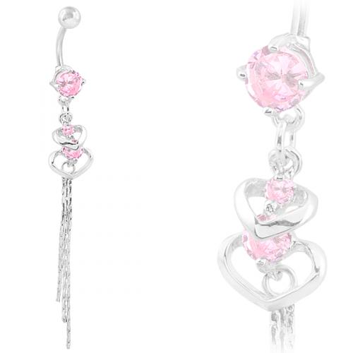Navelpiercing med rosa stenar och hjärtan