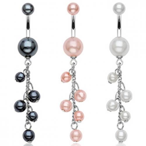Navelsmycke med vita pärlor