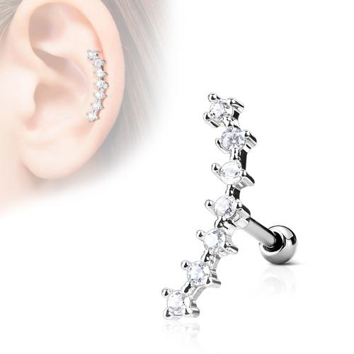 Helix piercing med sju Cz