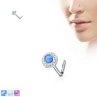 Rund näspiercing med opal sten