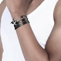 Svart läder armband med ankare