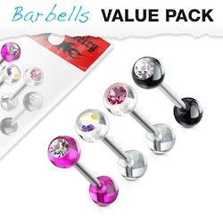 4 pack barbeller med olika färger