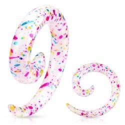 Spiral med färgklickar