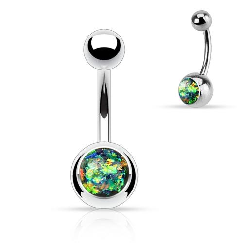 Navelpiercing med glittrig opal