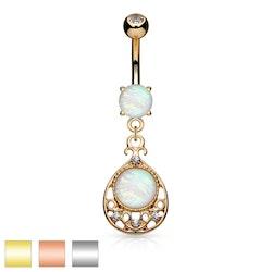Navelpiercing med ornament och opalsten
