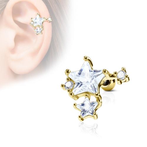 Tragus/Helix med sten stjärnor