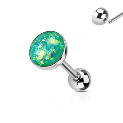 Tungpiercing med opal imitation