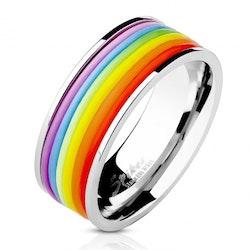 Ring med regnbågsfärgade gummiband