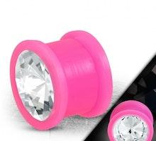 Rosa silikon plugg med ädelsten