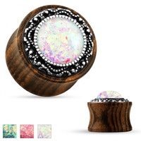 Plugg i trä med imitations opal