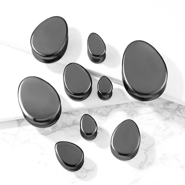 Droppformad svart sten plugg