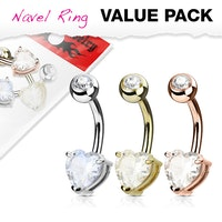 3-pack Navelpiercingar med ädelstenshjärtan