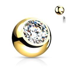 Lös boll guldpläterad med ädelsten