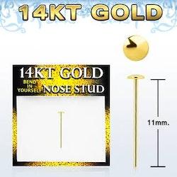 Näspiercing i guld med platt topp