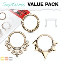 3 pack med septum ringar plus en gratis retainer