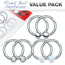 6 pack med cbr ringar med ädelstenar, opalstenar och stålbollar