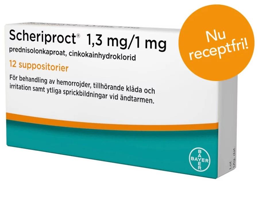 Scheriproct, suppositorium 1,3 mg/1 mg 12 st