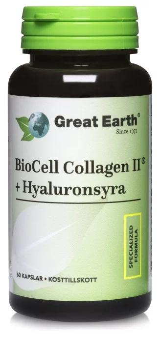 Great Earth Biocell Collagen + Hyaluronsyra 60 kapslar