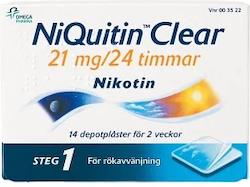 NiQuitin Clear, depotplåster 21 mg/24 timmar 14 st