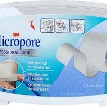 Micropore Tejp Vit 2,5 cm x 9,14 m