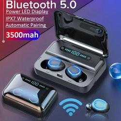 Superbilligt Bluetooth 5.0 Hörlurar & Powerbank i ett.