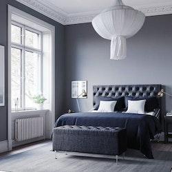 Ljusgrå Julia ställbar kontinentalsäng 120X200cm Sängpaket med Paula gavel