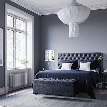 Ljusgrå Julia ställbar kontinentalsäng 160 x 200cm Sängpaket med Paula gavel