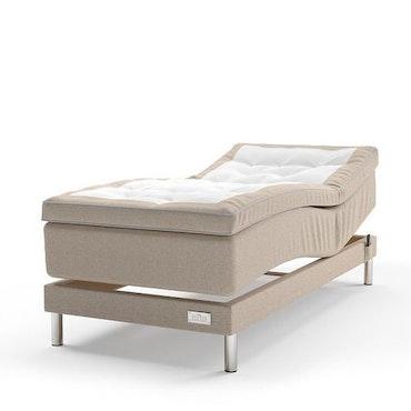 Beige Julia ställbar kontinentalsäng 120 x 200 cm Sängpaket med Paula gavel