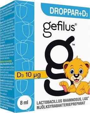 Gefilus Droppar +D3 Mjölksyrabakteriepreparat. 8 ml