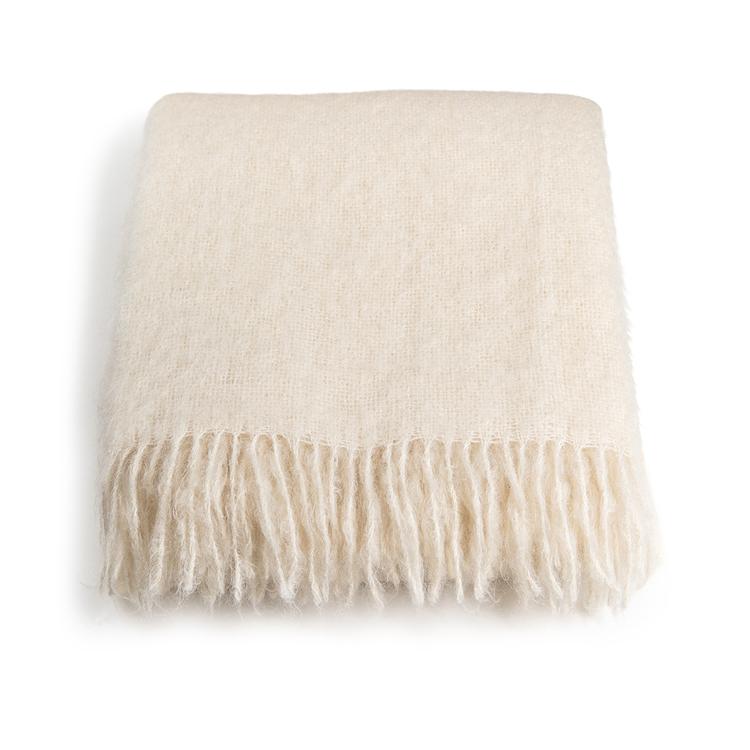 Mohair pläd Rolled fringes Off White