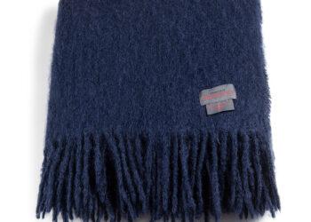 Mohair pläd Rolled fringes blå