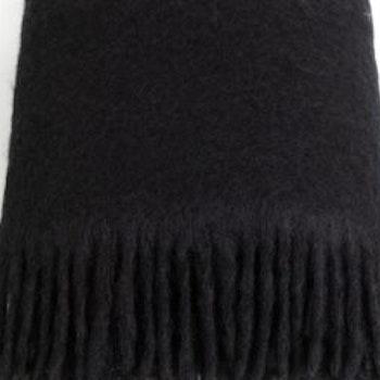 Mohair pläd Rolled fringes svart