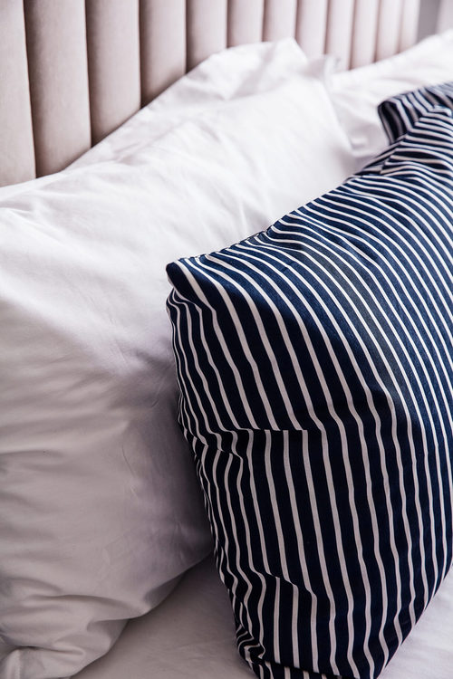 Auburn bäddset blå vit premium bomull, 4 delar Vinga