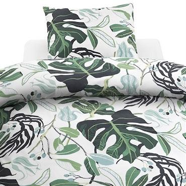 Amelia grön kingzize påslakanset i bomull, 1 påslakan 220 x 210 + 2 örngott 50 x 60
