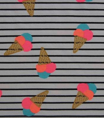 Bomull Jersey iskrem og striper bit