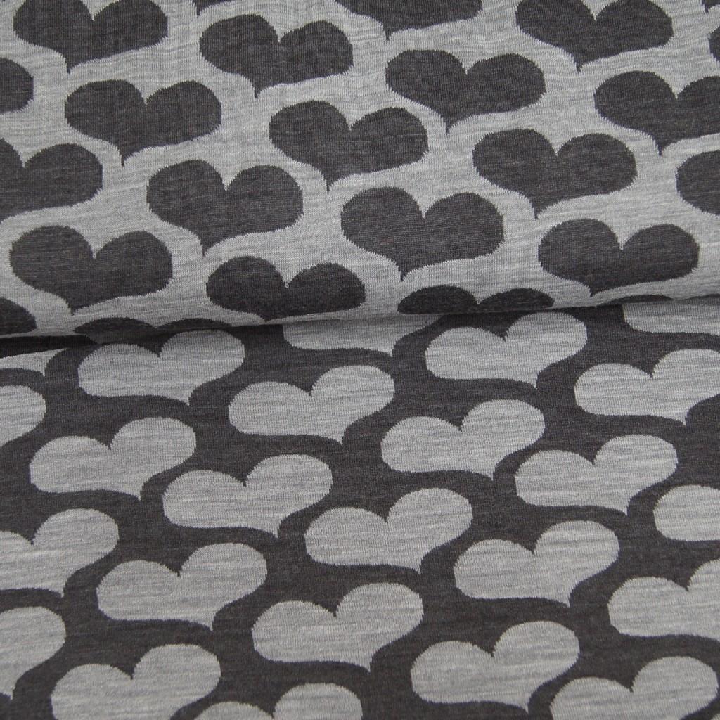 Merinoull grå hjerter