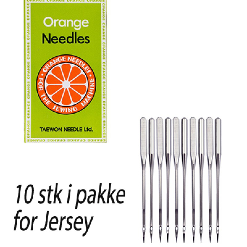 Orange symaskinnål for Jersey (10stk)