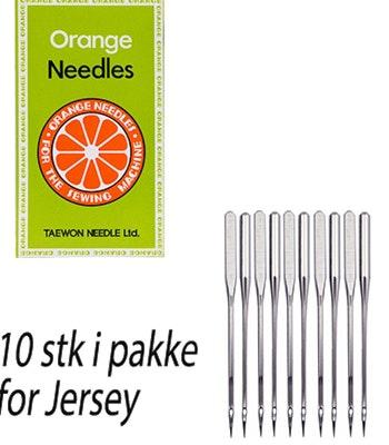 Orange symaskinnål for Jersey (10stk)